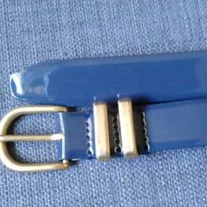 Navy Blue Skinny Patent Leather J Crew Belt Large